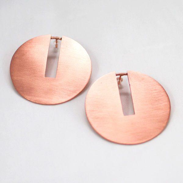 Χειροποίητα σκουλαρίκια discy ροζ χρυσό