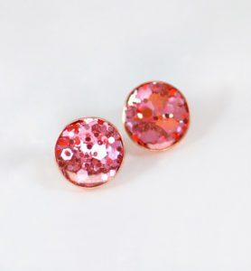 Χειροποίητα σκουλαρίκια spree ροζ (ροζ χρυσή βάση)