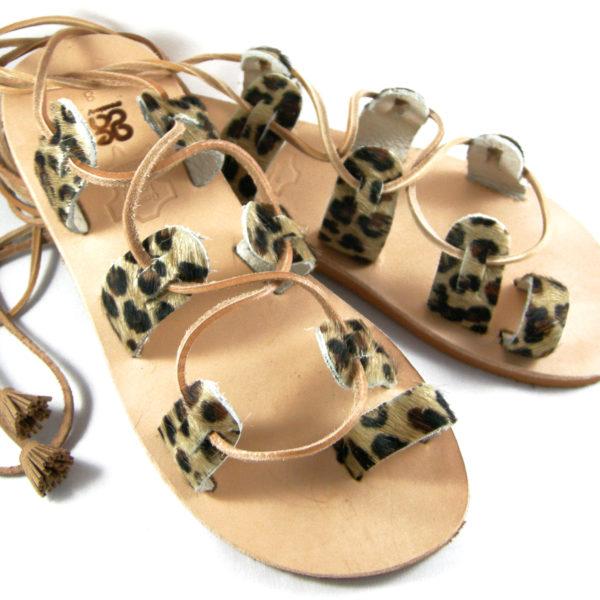 Χειροποίητα δερμάτινα σανδάλια leopard