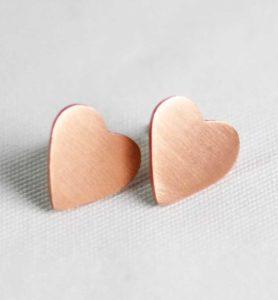 Χειροποίητα σκουλαρίκια ροζ χρυσές καρδιές