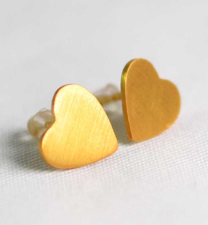 Χειροποίητα σκουλαρίκια χρυσές καρδιές