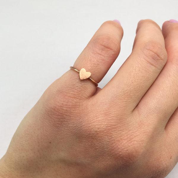 Χειροποίητο βεράκι καρδιά ροζ χρυσό