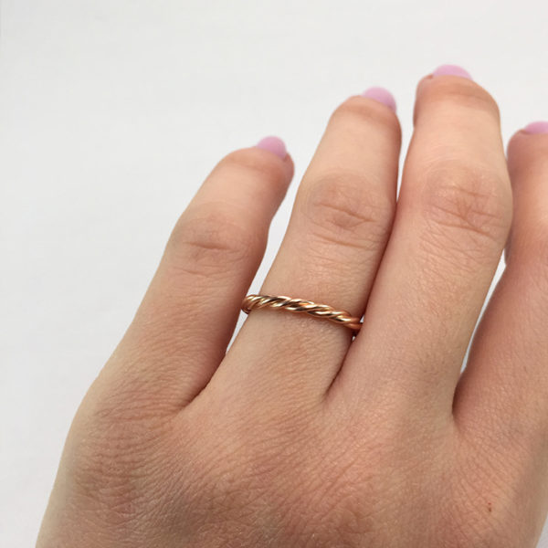 Χειροποίητο βεράκι braid ροζ χρυσό