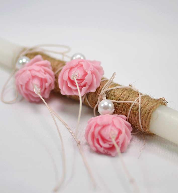 Χειροποίητη λαμπάδα fiorente ροζ