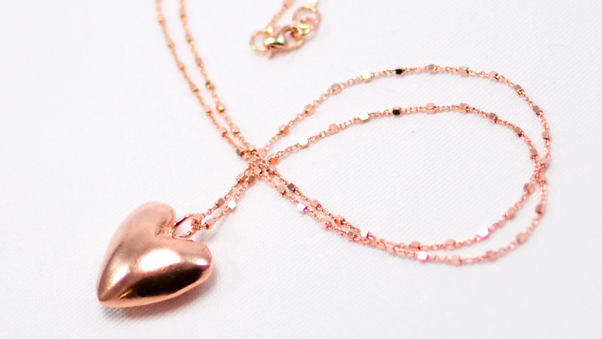 χειροποίητο κολιέ καρδιά ροζ χρυσό