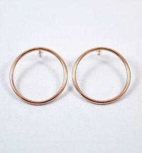Χειροποίητα σκουλαρίκια κρίκοι ροζ χρυσοί Olivia