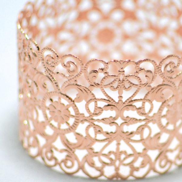 Χειροποίητο βραχιόλι cuff eveline ροζ χρυσό