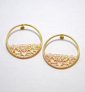 Χειροποίητα σκουλαρίκια κρίκοι χρυσοί valerie