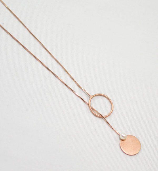 Χειροποίητο layering ροζ χρυσό κολιέ silky