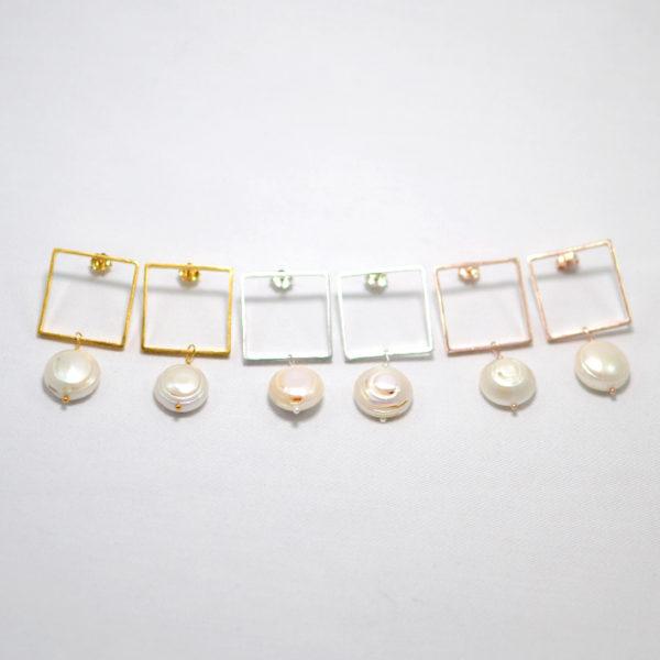 Χειροποίητα γεωμετρικά σκουλαρίκια με μαργαριτάρια Narcissus σετ