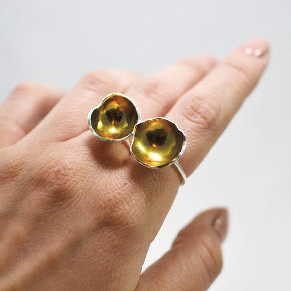 Χειροποίητο statement δαχτυλίδι Zoey χρυσό